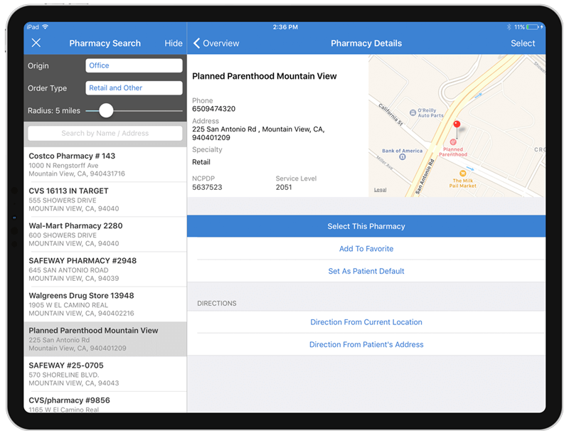 Pharmacy search for e-prescribing on iPad
