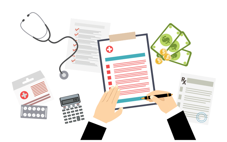 Hands shown signing off on documents with calculator, prescription, checklists, and stethoscope surrounding