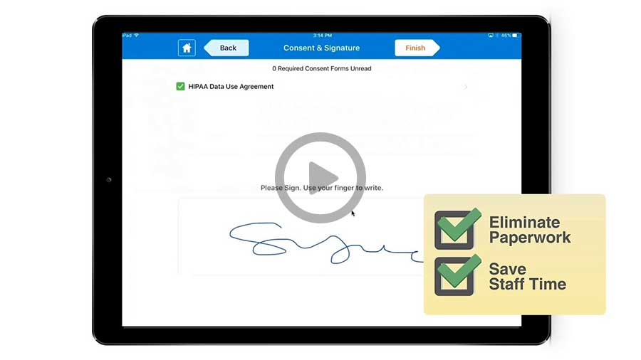 iPad showing consent and signature on HIPAA agreement