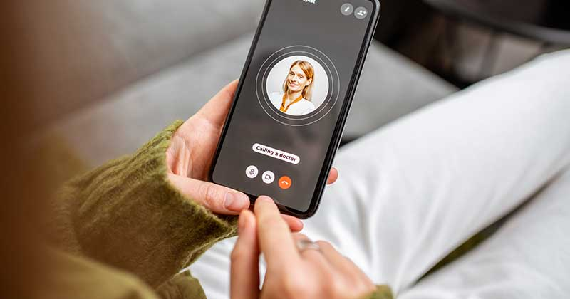 Patient use telehealth with iPhone