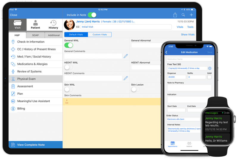 DrChrono EHR on web, iPad, iPhone, and apple watch