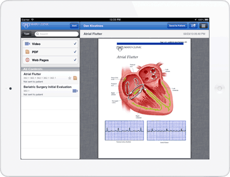 Patient Education material via Mayo Clinic in the drchrono iPad app
