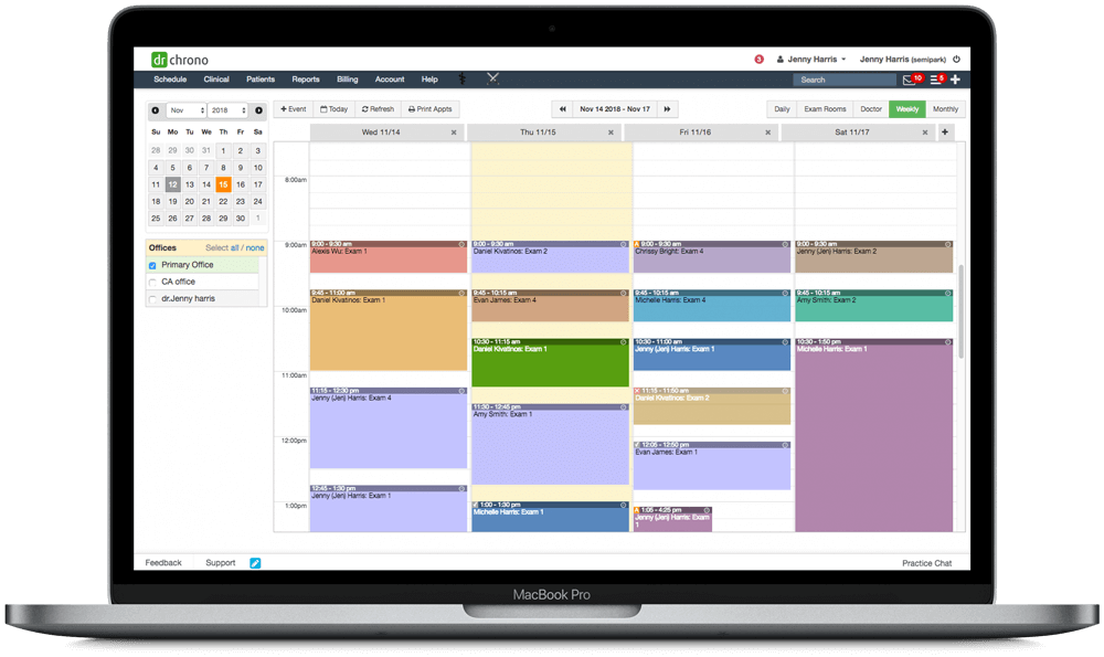 DrChrono color coded scheduling on macbook