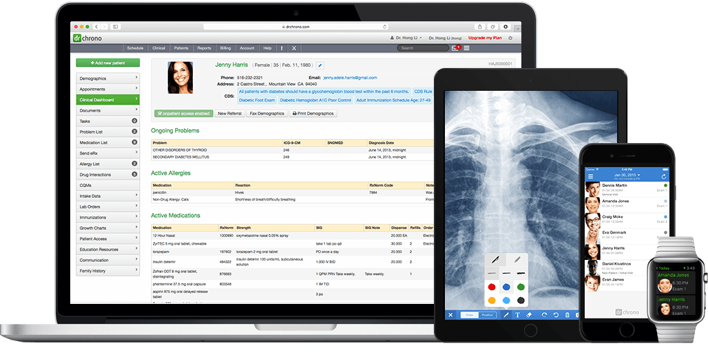 drchrono EHR on iPad, iPhone and Web